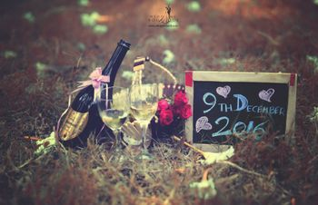 Champagne picnic save the date shoot