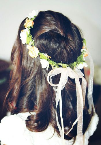 Open hair with floral wreath and ribbon for bridesmaid