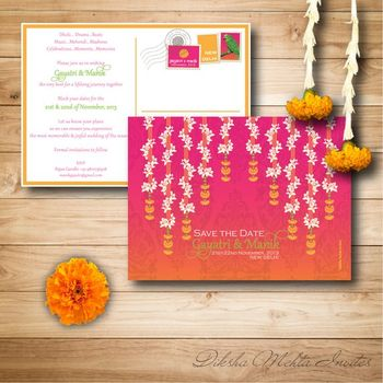 Photo of Pink and Orange Shaded Wedding Cards