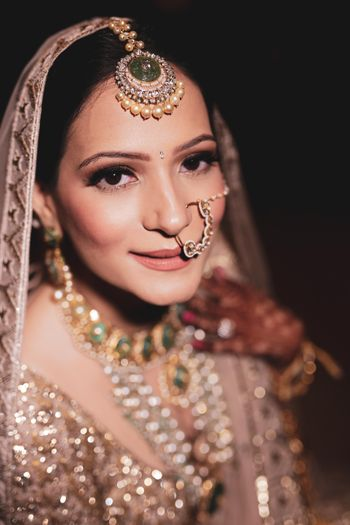 Close up shot of a bride.
