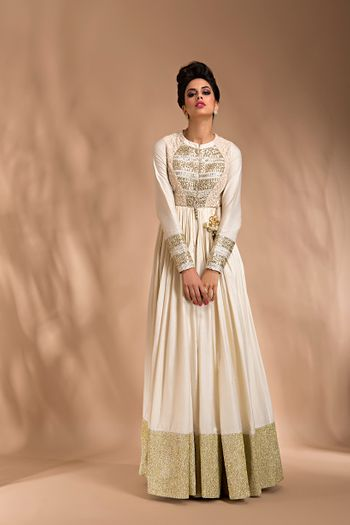cream floor length anarkali