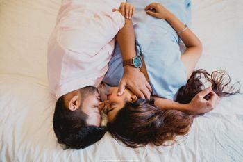 Intimate romantic pre wedding shoot idea on bed