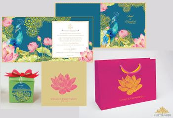 Photo of blue floral and peacock lotud invitations
