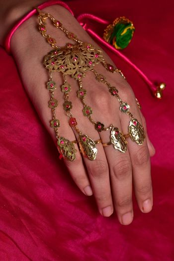 Metallic tribal haathphool for mehendi