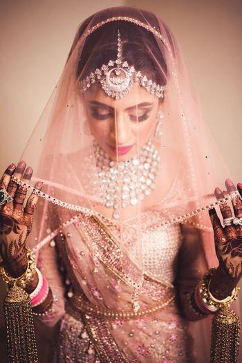 Stunning bride with light pink veil shot