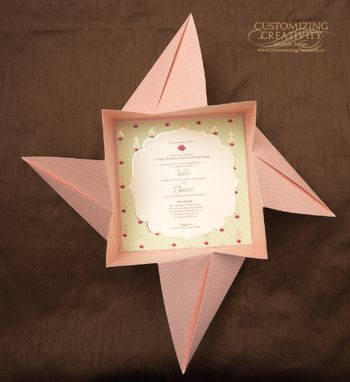 Stunning baby pink invite with origami
