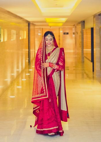 red lehenga saree with sheet gold sequinned dupatta