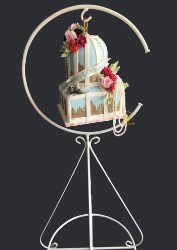 A two tier, suspended cake in white and blue colours