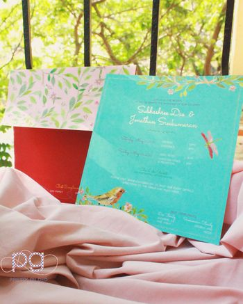 Photo of turquoise wedding card
