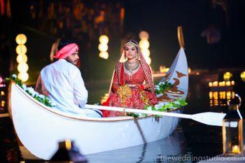 Bride entering venue on boat