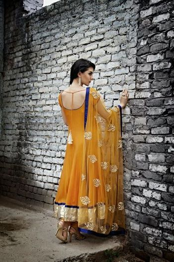 mustard yellow chiffon anarkali with embroidered dupatta