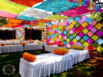A fun and colorful mehendi decor idea with kites