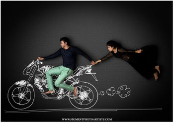 Photo of Chalkboard pre wedding shoot with bike