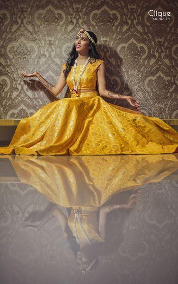 Marigold brocade lehenga for mehendi