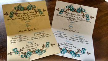 blue and white invitation