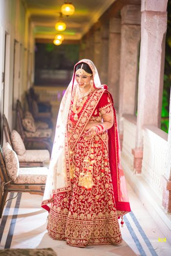 Bright Red and Gold Lehenga with Cream Dupatta