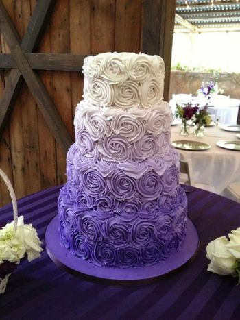 4 tier lavender and white ombre wedding cake