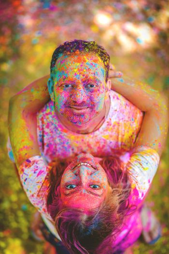Holi themed couple portraits