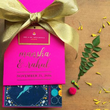 Pink and gold modern wedding invite