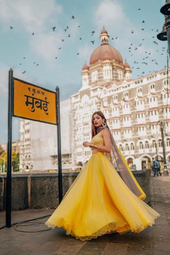 Photo of Mango yellow mehndi lehenga