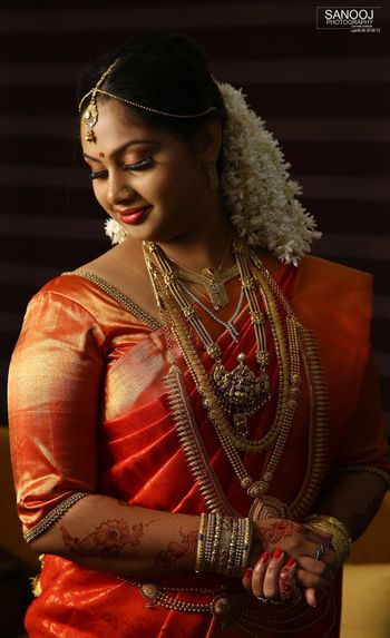 Photo of south indian gold layered bridal jewellery