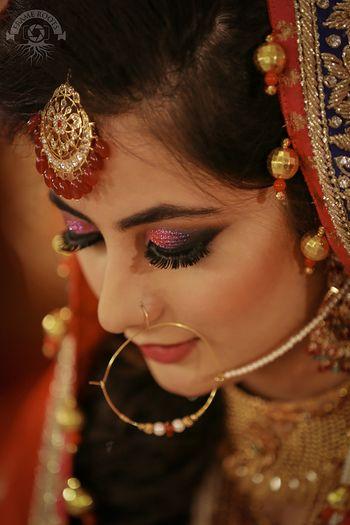 glitter pink and purple smokey eye makeup