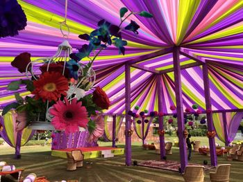 Photo of purple canopy tents