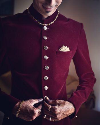 Maroon bandhgala in velvet for groom