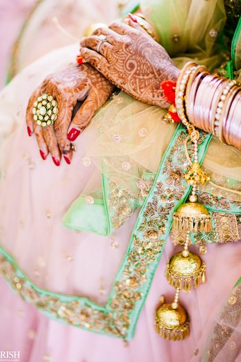 Bridal hands with kaleere and mehendi
