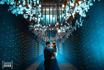 Romantic couple shot with nice sangeet decor