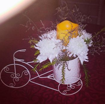 Photo of cycle table centrepieces