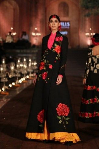 black floral printed floor length gown