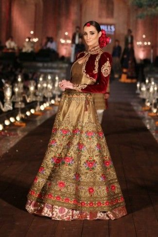 gold and maroon lehenga