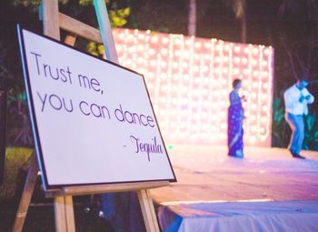 Signage near the dance floor