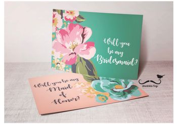 Photo of Will you be my bridesmaid card in light pink and teal