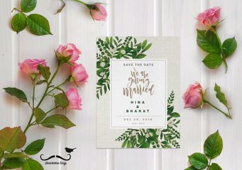 Modern wedding invite with tropical design
