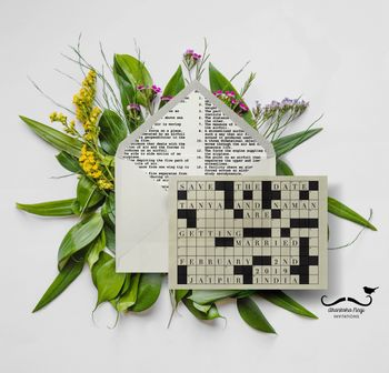 Cross word theme save the date card