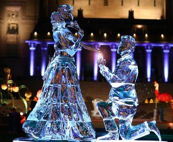Ice sculptures at wedding