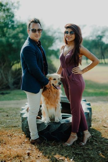 Photo of Pre wedding shoot with pet sitting on tyre