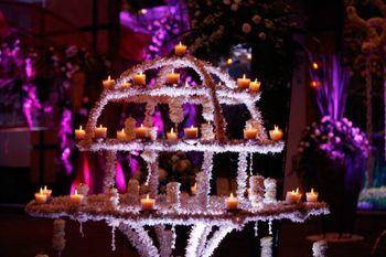 candle lit and floral entrance decor