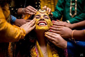 Bride on haldi