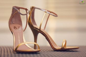 Brown and gold strappy bridal heels
