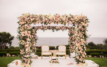 Floral mandap by the sea.