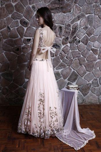 soft pink pleated lehenga
