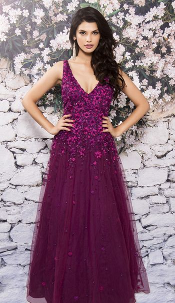 purple gown floor length net