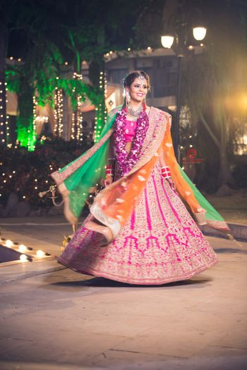 Hot Pink, Orange and Green Twirling Lehenga