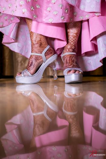Silver bridal shoes with transparent heels