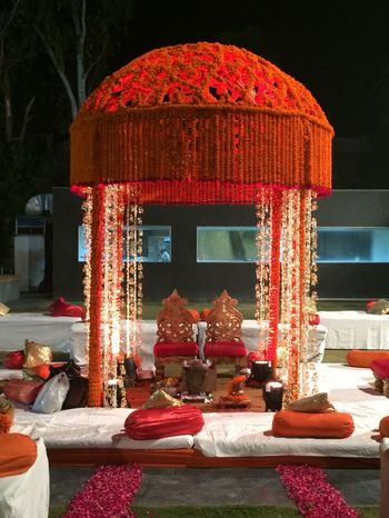 orange genda flower small mandap