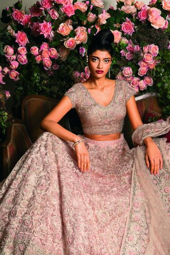 Photo of Dull Pink and Grey Lehenga with Thread and Stone Work
