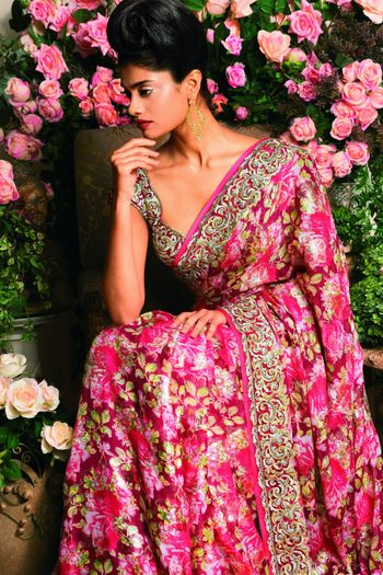 Photo of Floral Print Saree with Thread Work Border and Blouse